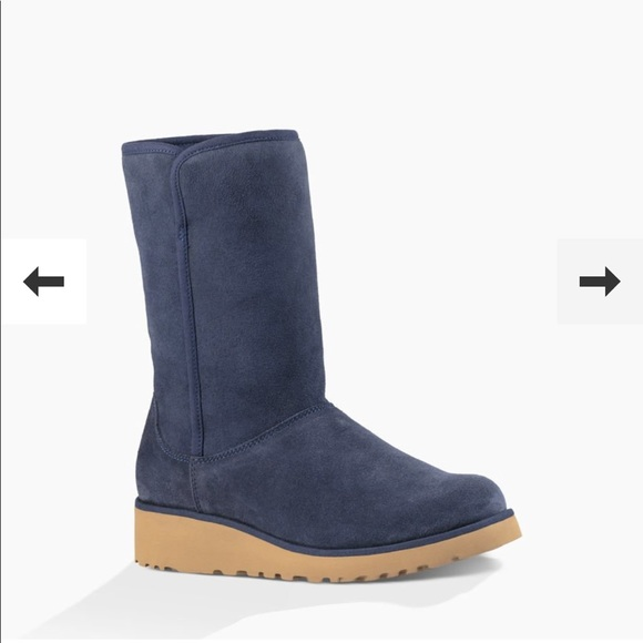 0e16dd69bc1 NEW • Ugg • Amie Suede Navy Blue Wedge Boots 9 NWT